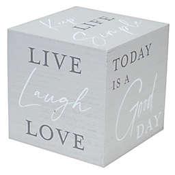 Live Laugh Love Wood Block in Grey