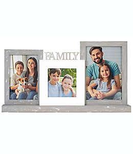 """Portarretratos con marco de madera Malden International Designs """"Family"""" color blanco/gris"""