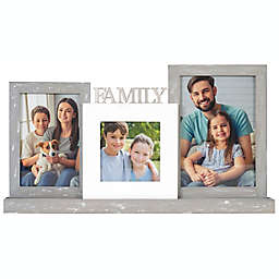 """""""Family"""" 3-Photo 8.5-Inch x 16-Inch Platform Picture Frame in White/Grey"""