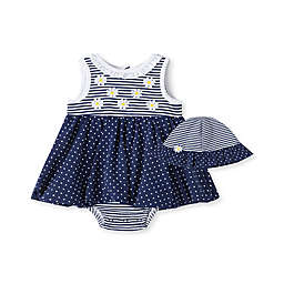 Little Me® Size 3M 2-Piece Daisy Sunsuit and Hat Set in Navy/White