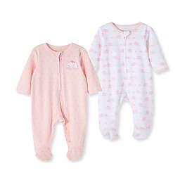 Little Me® 2-Pack Elephant Footies in Pink