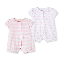 Little Me® 2-Pack Elephant Rompers in Pink