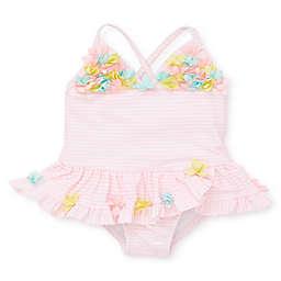 Little Me® Pink Stripe 3D Swimsuit