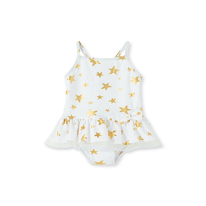 Alternate image 1 for Little Me® Starfish Swimsuit in White/Gold
