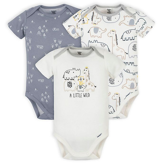 Alternate image 1 for Gerber® Onesies® 3-Pack Organic Cotton Little Wild Short Sleeve Bodysuits in Grey