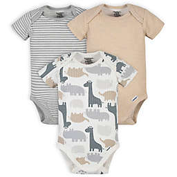 Gerber® Onesies® 3-Pack Organic Cotton Jungle Short Sleeve Bodysuits in Grey