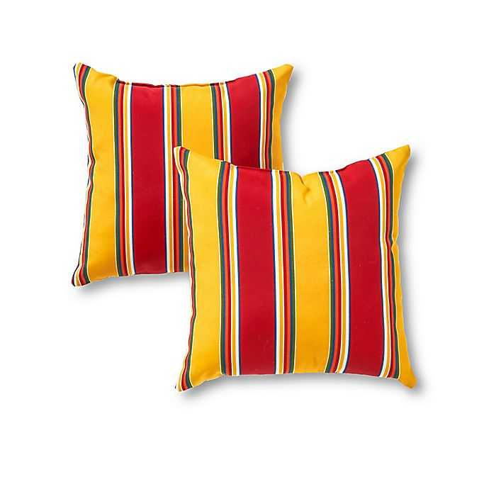 Alternate image 1 for Greendale Home Fashions Stripe Square Outdoor Throw Pillows (Set of 2)