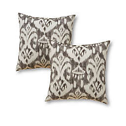 Greendale Home Fashions Square Indoor/Outdoor Throw Pillows in Graphite Ikat (Set of 2)