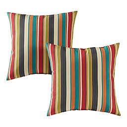 Greendale Home Fashions Sunset Stripe Multicolor Square Outdoor Throw Pillows (Set of 2)