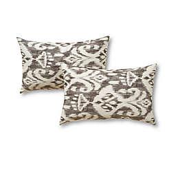 Greendale Home Fashions Graphite Ikat 2-Piece Outdoor Lumbar Pillow Set