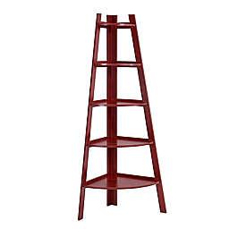 Danya B. Wood 5-Tiered Corner Ladder Bookcase in Cherry