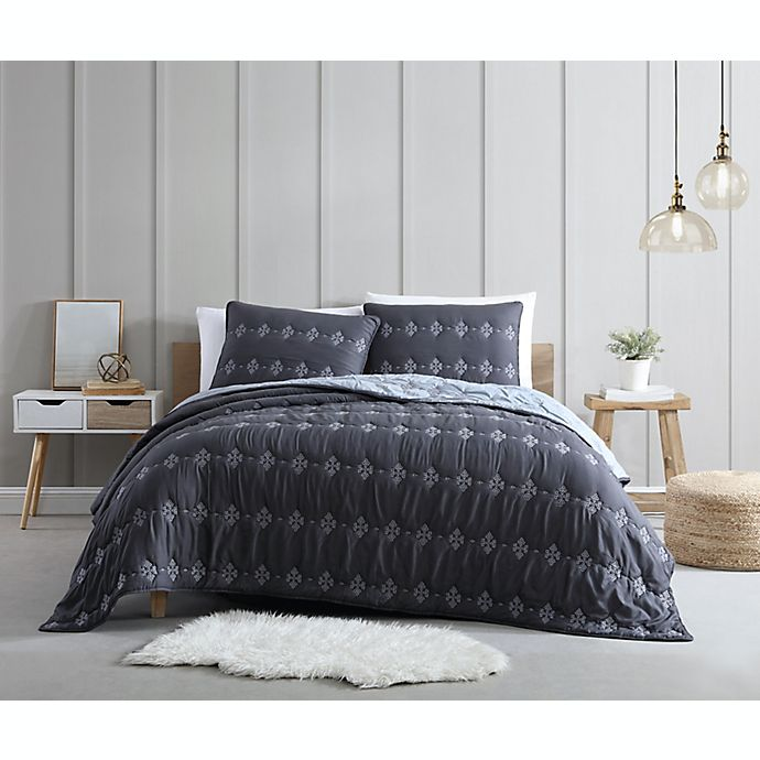 Alternate image 1 for Ambrose 3-Piece Reversible Quilt Set in Grey