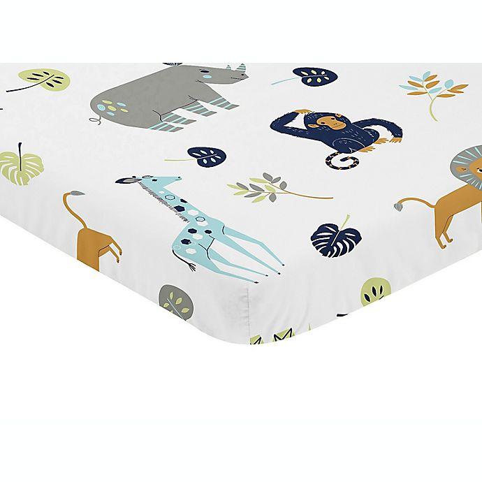 Alternate image 1 for Sweet Jojo Designs® Mod Jungle Mini Fitted Crib Sheet in Blue/Grey/Green