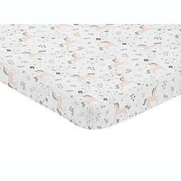 Sweet Jojo Designs® Unicorn Mini Fitted Crib Sheet in Pink/Grey