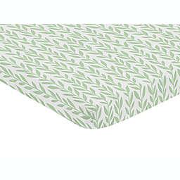 Sweet Jojo Designs® Sunflower Leaf Mini Fitted Crib Sheet in Green/White