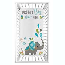 Sweet Jojo Designs® Elephant Photo Op Fitted Crib Sheet in Blue/Grey/Green
