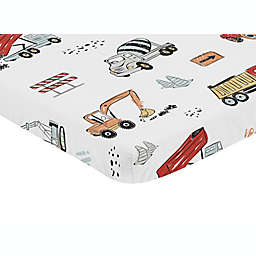 Sweet Jojo Designs® Construction Truck Mini Fitted Crib Sheet in Red/Blue