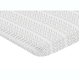 Sweet Jojo Designs® Construction Truck Tire Mini Fitted Crib Sheet in White/Grey
