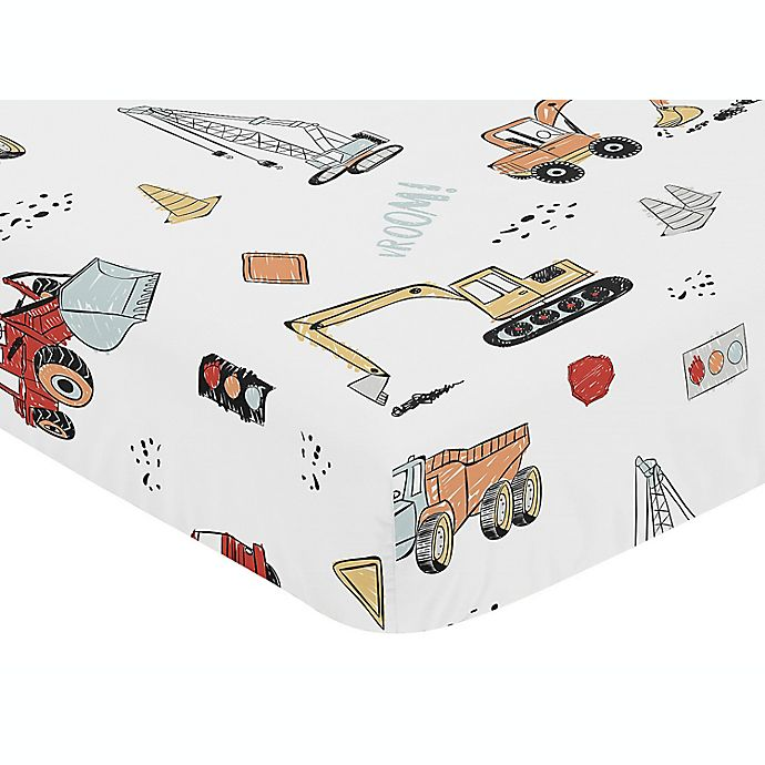 Alternate image 1 for Sweet Jojo Designs® Construction Truck Fitted Crib Sheet in Red/Blue