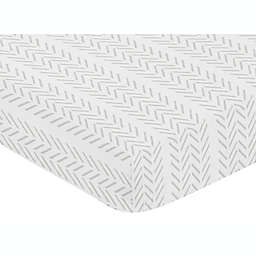 Sweet Jojo Designs® Construction Truck Tire Fitted Crib Sheet in White/Grey