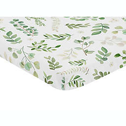 Sweet Jojo Designs® Watercolor Botanical Leaf Mini Fitted Crib Sheet in Green/White