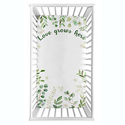 Sweet Jojo Designs® Watercolor Botanical Leaf Photo Op Fitted Crib Sheet in Green/White