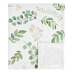 Sweet Jojo Designs® Watercolor Botanical Leaf Baby Blanket in Green/White