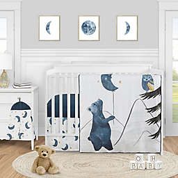 Sweet Jojo Designs® Moon Bear 4-Piece Crib Bedding Set in Blue/Gold<br />