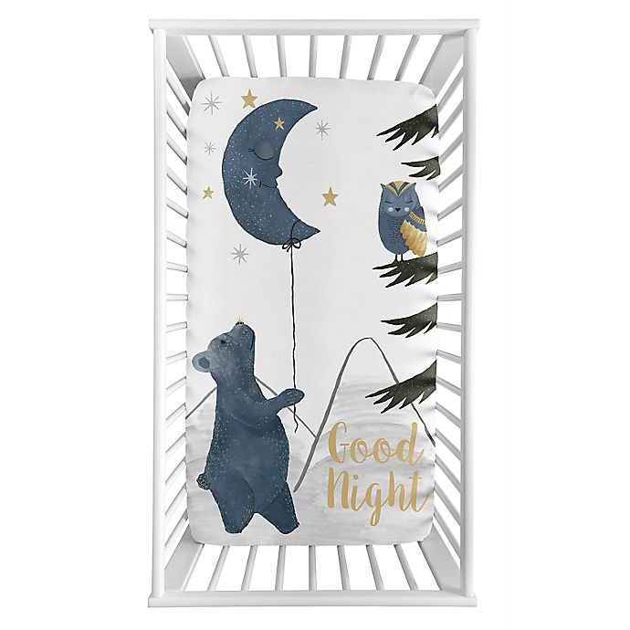Alternate image 1 for Sweet Jojo Designs® Moon Bear Photo Op Fitted Crib Sheet in Blue/Gold