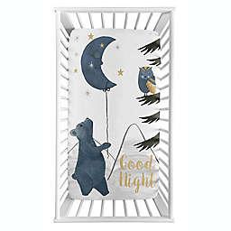 Sweet Jojo Designs® Moon Bear Photo Op Fitted Crib Sheet in Blue/Gold