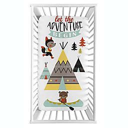 Sweet Jojo Designs® Outdoor Adventure Photo-Op Fitted Crib Sheet in Aqua/Yellow