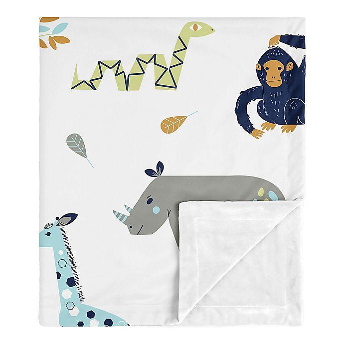 Alternate image 1 for Sweet Jojo Designs® Mod Jungle Minky Blanket in Blue/Grey/Green