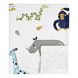 Sweet Jojo Designs® Mod Jungle Minky Blanket in Blue/Grey/Green