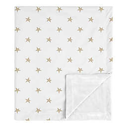 Sweet Jojo Designs® Celestial Star Minky Blanket in Gold White