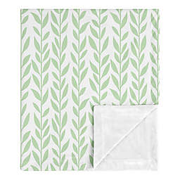 Sweet Jojo Designs® Sunflower Leaf Baby Blanket in Green/White