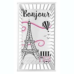 Sweet Jojo Designs® Paris Photo Op Fitted Crib Sheet in Pink/Black