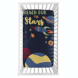 Sweet Jojo Designs® Space Galaxy Photo-Op Fitted Crib Sheet in Navy/Blue