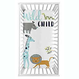 Sweet Jojo Designs® Mod Jungle Photo-Op Fitted Crib Sheet in Blue/Grey/Green