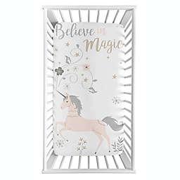 Sweet Jojo Designs® Unicorn Photo-Op Fitted Crib Sheet in Pink/Grey