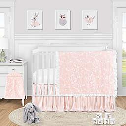 Sweet Jojo Designs® Lace 4-Piece Crib Bedding Set in Pink/White