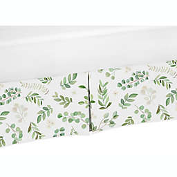 Sweet Jojo Designs® Watercolor Botanical Leaf Crib Skirt in Green/White
