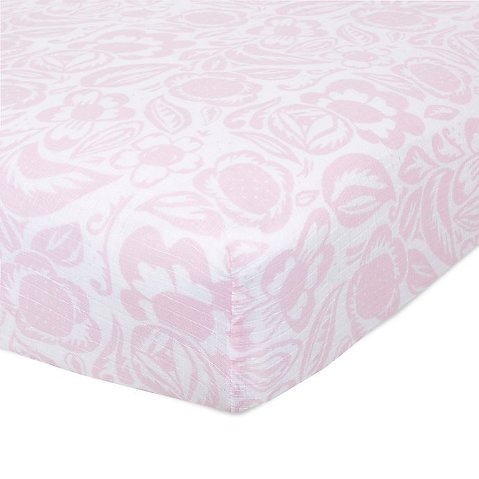 Alternate image 1 for aden + anais™ essentials Damsel Fitted Crib Sheet in Pink
