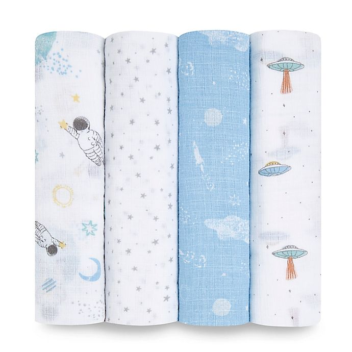 Alternate image 1 for aden + anais™ essentials 4-Pack Explorers Swaddle Blankets in Blue