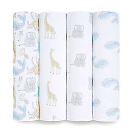 aden + anais™ essentials 4-Pack History Muslin Swaddles in Grey