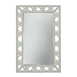 W Home Bamboo-Look 20-Inch x 30-Inch Rectangular Wall Mirror in Glossy White