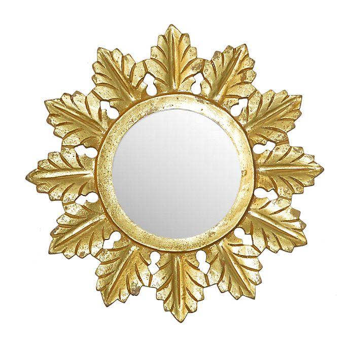 Alternate image 1 for W Home™ Starburst 14-Inch Round Wall Mirror in Matte Gold