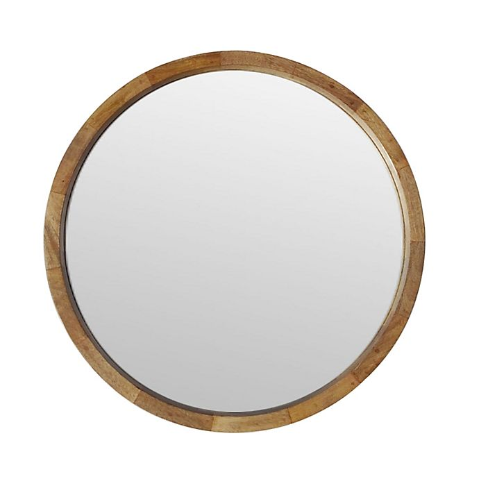W Home 24 Inch Round Wall Mirror In, Round Wood Frame Mirror Canada
