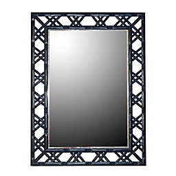 W Home Bamboo-Look 30-Inch x 40-Inch Rectangular Wall Mirror in Glossy Navy