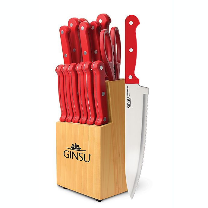 Ginsu Essential Series 14 Piece Knife Block Cutlery Set In Red Bed Bath Beyond