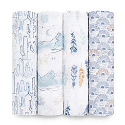 aden + anais™ 4-Pack Sunrise Muslin Swaddles in Blue